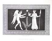 """Antique Engraving Fine Art Original Engraving Wall Art Gallery  10 7/8"""" x 7 3/8"""" Greece Etruscan Vase Henry Moses 1848 FREE SHIPPING"""