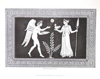 "Antique Engraving Fine Art Original Engraving Wall Art Gallery  10 7/8"" x 7 3/8"" Greece Etruscan Vase Henry Moses Sir Henry Englefield 1848"