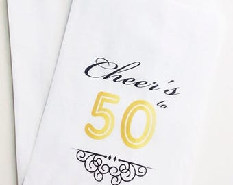 ON SALE 50th Birthday Candy Buffet Favor Bags, Cheer's to 50 Favor Bags, Candy Bar Bags, Treat Bags