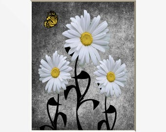Yellow Daisy Flowers Butterfly Wall Art, Yellow Gray Decor, Bathroom Bedroom  Yellow Artwork Matted