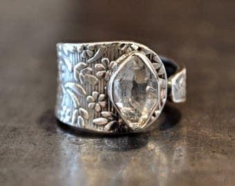 Handmade Sterling Silver Herkimer Diamond Ring 8 Adjustable