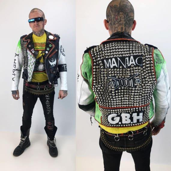 Studded Spiked White Leather Punk Jacket Mens 36 Vintage FMC Biker Jacket - G.B.H. / Doom / Amebix Green White Crust Punk Leather Grunge