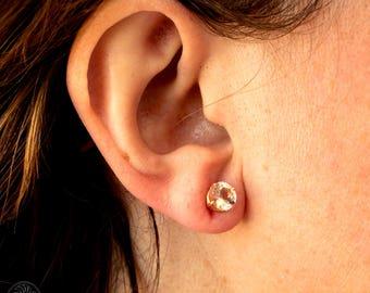 Round Morganite Stud Earrings, Morganite Stud Earrings, Round Earrings , Morganite Stud Earrings, Rose Gold Morganite Earrings | EAR01734