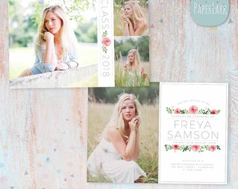 Senior Announcement Card  - Floral - Photoshop Template - AG019 - Instant Download