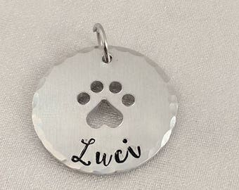 Personalized Dog Tag - Personalized Cat Tag - Name Tag for Dog - Paw Name Tag - Name Tag for Cat - Metal Stamped Name Tag - Dog ID Tag - Pet