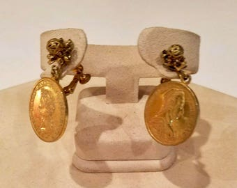 1950s Miriam Haskell coin earrings