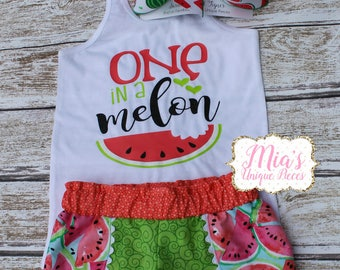 One in A Melon, Summer Wtermelon Shirt, Melon Shorts