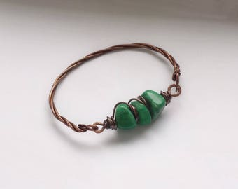 Copper bracelet with green jade, Chic, Rustic copper bracelet, Artisan jewelry