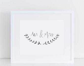 Mr & Mrs Printable Instant Download