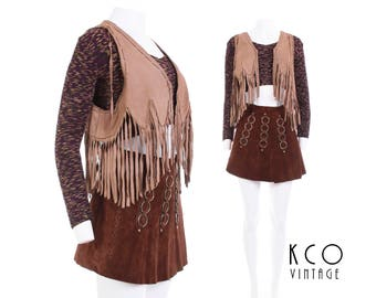 70s Vintage Suede Fringe Crop Top Vest Beige Leather with Chains Hippie Boho Festival Clothing Women's Size SMALL