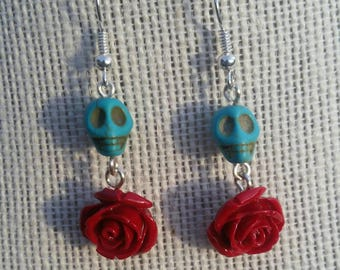 Turquoise skulls and roses