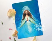 Postcard, Greetingcard (A6) 'Mother Mary' painting