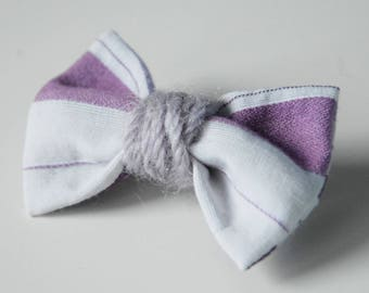 41 purple white striped bow brooch