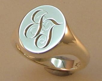 Initial engraved signet ring sterling silver hallmarked , any , one (1) initial or two (2)  initial