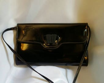 Vintage black patent bag shoulder clutch handbag 80s black patent bag