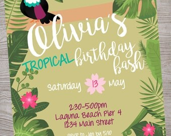 Toucan Tropical  Baby shower Birthday Party invitation printable