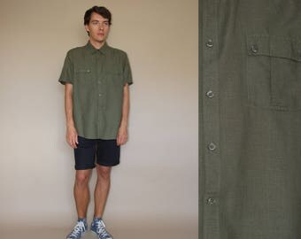 90's vintage men's army green linen minimal shirt