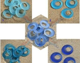Sea Glass LG Earring Donuts Blue 2pcs (28mm) Go-go Cultured Sea Glass Beach Glass Pendant Beads