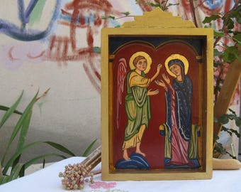 Nicho box Holy Mother and Gabriel-Mini shrine  Annunciation to the Blessed Virgin Mary - Madonna Retablo catholic tradition home decoration