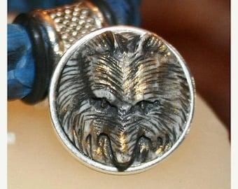 20% Off: SALE -  Hand Carved Bone Wolf Head Slider, Bronze, 10x6mm opening