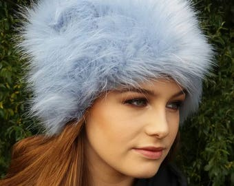 Ice Blue Faux Fur Hat with Cosy Polar Fleece Lining