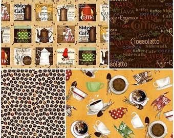 Daily Grind Coffee Cotton Fabric by Quilting Treasures! 4 Options! [Choose Your Cut Size]