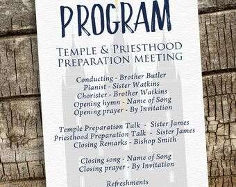Temple and Priesthood Preparation Program, Baptism Invitation Program, Personalized Baptism Invitation, Priesthood Preview,Watercolor Flower