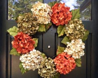 ORANGE HYDRANGEA WREATH, Natural Grapevine Wreath, Farmhouse Wreath, Rustic Hydrangea Wreath,  White Orange Green, For Front Door