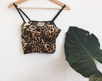 90's Vintage Animal Print Cropped Tank Top// Bralette