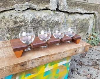 Walnut and Cherry beer flight sampler w/ glasses