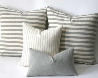 farmhouse pillows grey and cream stripes u0026 solids farmhouse throw pillow - Grey Throw Pillows