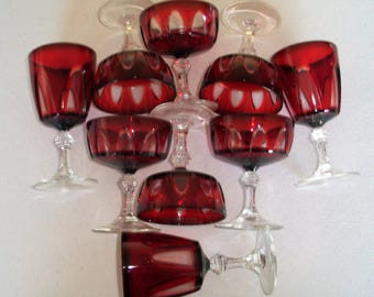 Arcoroc France Ruby Glass Gothic 9 Glasses