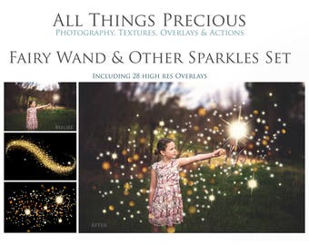 28 Fine Art Digital FAIRY WAND and SPARKLE Overlays