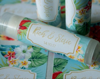 Tropical Custom Lip Balm / Chapstick Wedding or Party Favour Sticker / Label with Font to Match Your Invitations /  Custom Designs Available