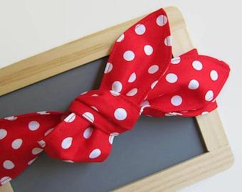 rockabilly head scarf - red white polka dot head wrap - retro bandana - womens hair scarf - bow top knot headband - rosie the riveter