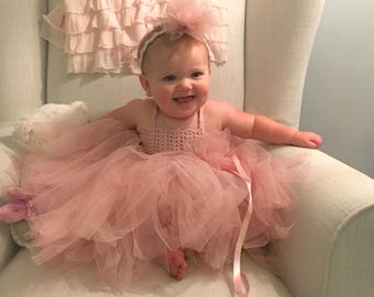 Baby Girl  Tutu Dress. Baby Flower Girl Tulle Dress with Lace Stretch Crochet Bodice.