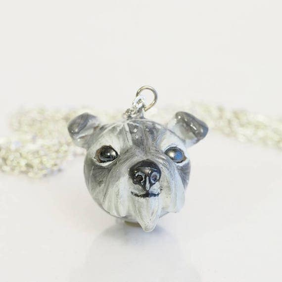FULL MOON BABY, Schnauzer - Handmade Polymer Clay Sculpture