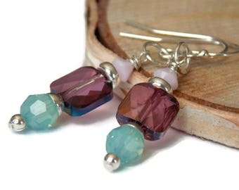 Colorful Swarovski Crystal Earrings // Purple Earrings // Summer Earrings