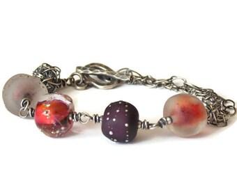 Sugar Plum Glass Bracelet // Oxidized Silver Jewelry // Rustic Chic Bracelet // Boho Luxe Jewelry