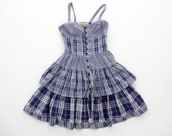 Vintage dress // Spaghetti Strap Plaid Ruffle Mini Sundress