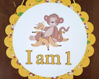 Monkey Birthday Sign, I am 1 Birthday Sign, Birthday Door Decoration, Monkey Birthday, I Am One Birthday, First Birthday Door Decoration