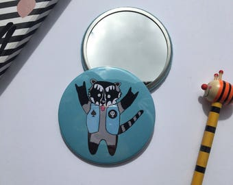 You Rock Raccoon Pocket Mirror - Hand Mirror - Stocking filler - Rock music gift