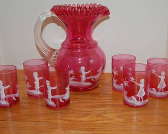 Vintage Mary Gregory Pitcher and 6 Glasses, Cranberry Pitcher, Lad Fishing, Girl with Bird, Hand Blown Glass, Home Decor