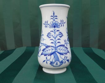 Vintage Blue and White, Meissen Vase, Blue Onion Pattern with Meissen Crossed Sword Trademark on front, Rare