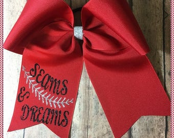 """Cheer Bow""""Seams And Dreams"""" Red And Black/Silver Glitter Vinyl, Pony O Or French Barrette, Ready To Ship: Convo For Color Changes"""