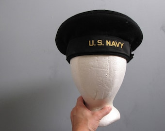 Vintage US Navy Beret - WWII Cap - Size 7 1/8