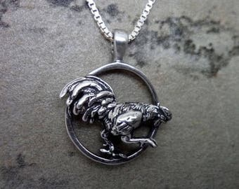 barnyard rooster pendant - handmade in sterling silver or gold