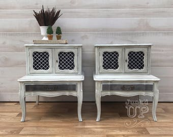 Pair French Provincial nightstands, side tables, end tables