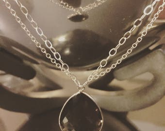 Handmade Silver Chain Necklace with Smokey Quartz Droplet