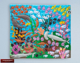 """Arpillera Under The Sea 17.7""""- Wall hanging quilt - Arpilleria (Patchwork)- 3d Arpillera tapestry from Peru- Embroidered appliques of fabric"""